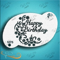 Diva Stencil 1075 - Happy Birthday with Flower Swirl
