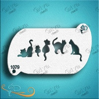 Diva Stencil 1079 - Forehead 5 Cats band