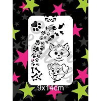 Glitter & Ghouls Paw, Bones, Fish, Cat, Dog Character Stencil - GG161
